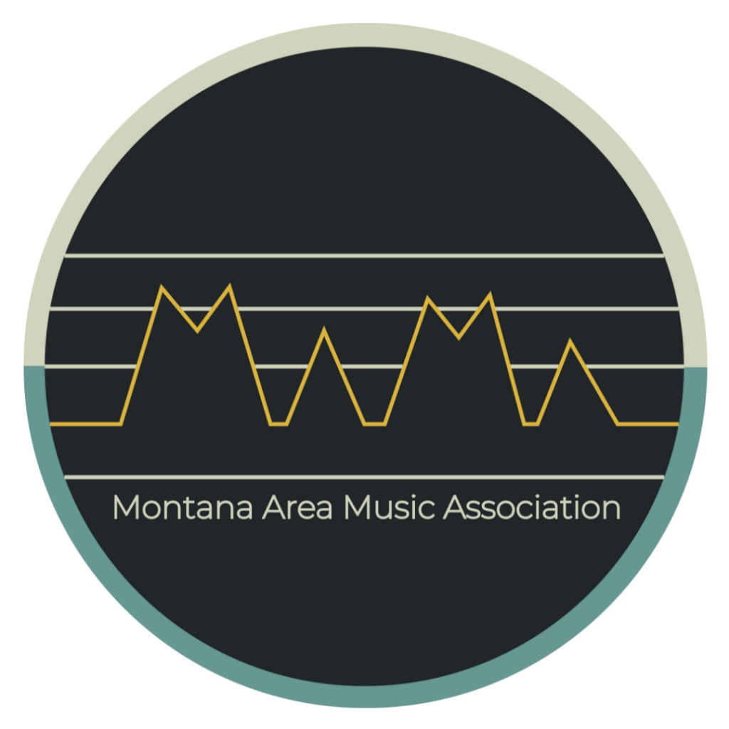 Logo for MAMA or Montana Area Music Association. An Arts Missoula incubator program.